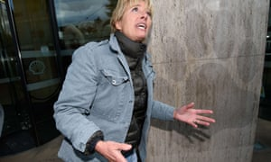 British actress Emma Thompson helps to place a series of stickers featuring the names of those who signed a global petition against Artic drilling onto Shell HQ in London.