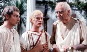 Derek Jacobi as Claudius, John Hurt as Caligua and George Baker as Tiberius in I, Claudius.