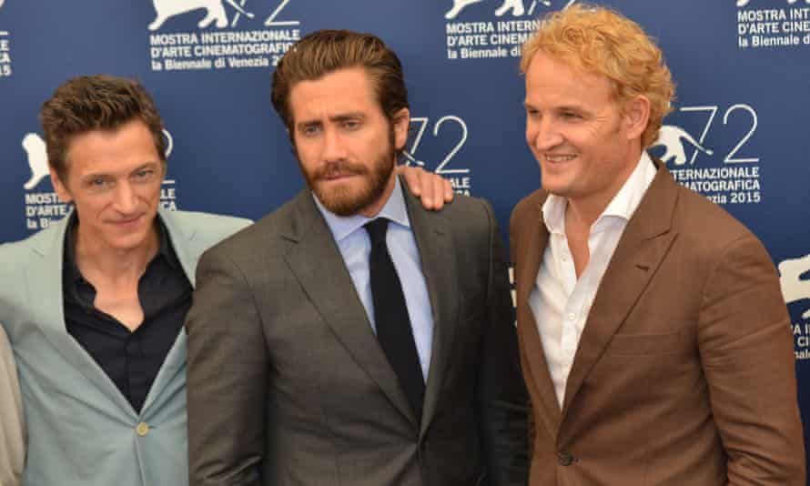 Jake Gyllenhaal and Jason Clarke at the press conference for Everest in Venice.