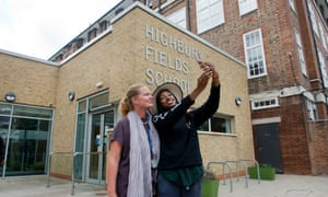 Old school rapper: Little Simz photographed at Highbury Fields School with her favourite teacher,  Ms Rowson.