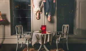 bride and groom upside down