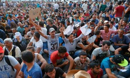Syrian refugees at Keleti station in Budapest.