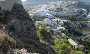 View of Hora from its castle, Kythira, Greece