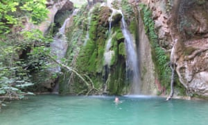 The 2nd waterfall down from Mylopotamos with Jemima swimming, Kythira, Greece