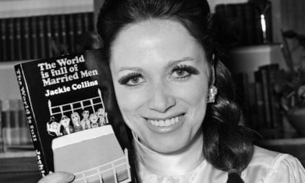 Jackie Collins in 1968, holding up a copy of her bestseller The World Is Full of Married Men.