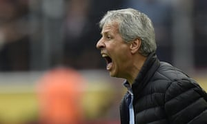Lucien Favre screams at his Borussia Mönchengladbach players during the 1-0 defeat to Cologne in the Bundesliga.