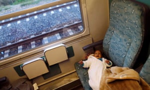 Refugee on train
