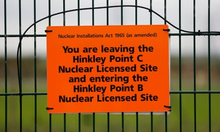 The border of the site where the Hinkley Point C nuclear power station will be constructed in Somerset