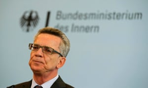 German Interior Minister Thomas de Maizière speaking to reporters on Monday.