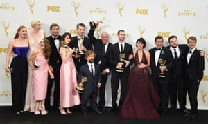 Winning the Game of Thrones … the cast and crew with their Emmys.