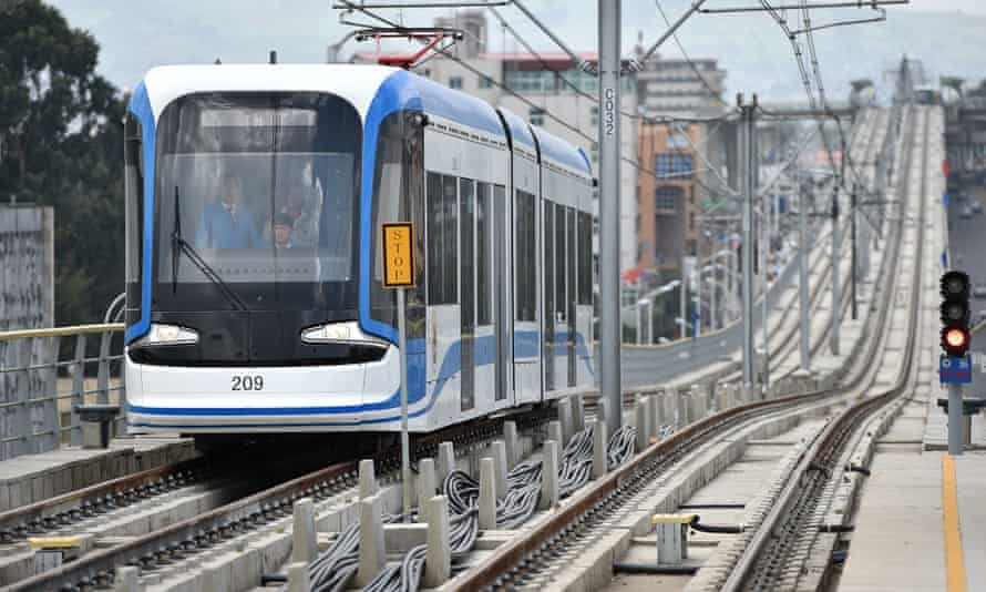 Chinese-funded new light railway system in Addis Ababa.