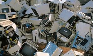 Broken computers in a heap