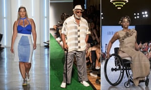A model at the Chromat fashion show, an 'ordinary dad' at Josh 'The Fat Jew' Ostrovsky's 'dadbod' show, and model Leslie Irby at the FTL Moda show – all at New York fashion week, September 2015. Photograph: Fernando Leon/Getty Images; Nicky Digital/Andrew Kelly/Corbis;