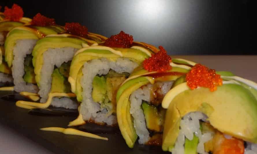 Dragon rolls at Hasu Sushi.