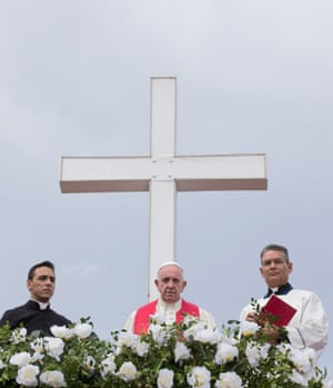 Pope Francis looks out from the Loma de la Cruz.
