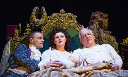Joseph Millson, Dervla Kirwan and Simon Russell Beale in Mr Foote's Other Leg.