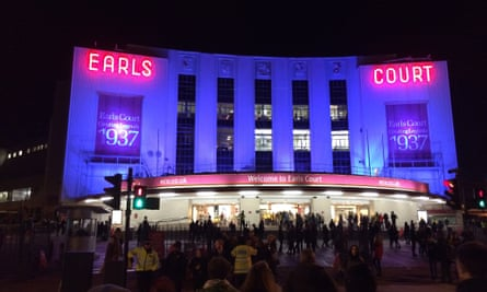 The original Earls Court exhibition centre building on the night of its final show, 13 December 2014.