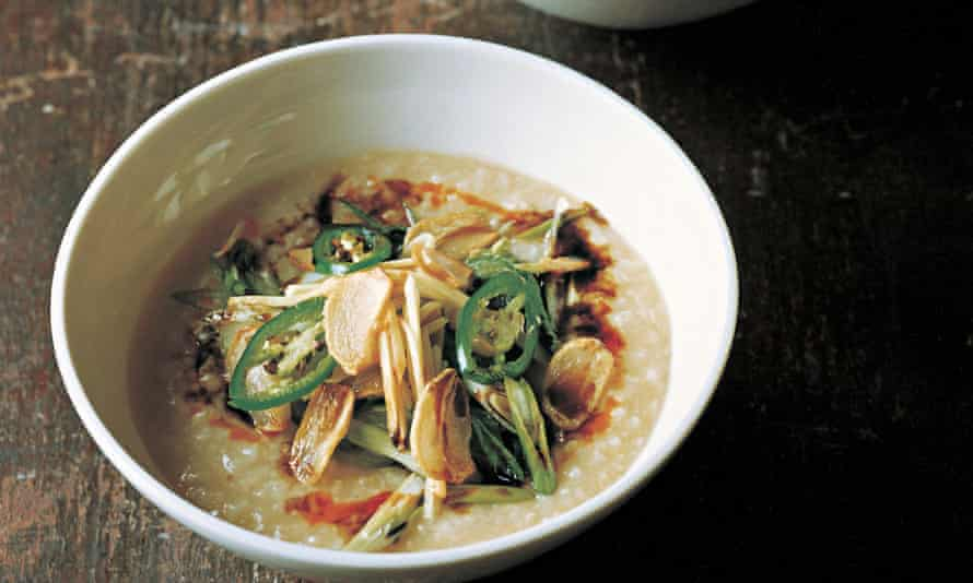 Congee with bok choy, golden fried garlic, green chilli & soy.