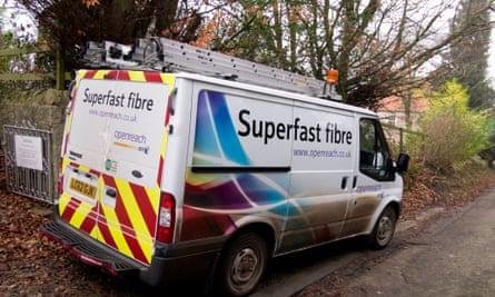 A BT work van installing high speed broadband in a rural village in North Yorkshire England
