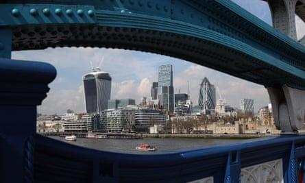 The City of London through Tower Bridge.
