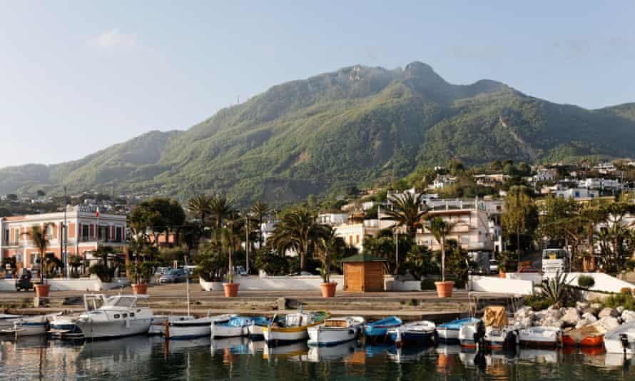 Lacco Ameno with Monte Epomeo in the background, Ischia, Italy.