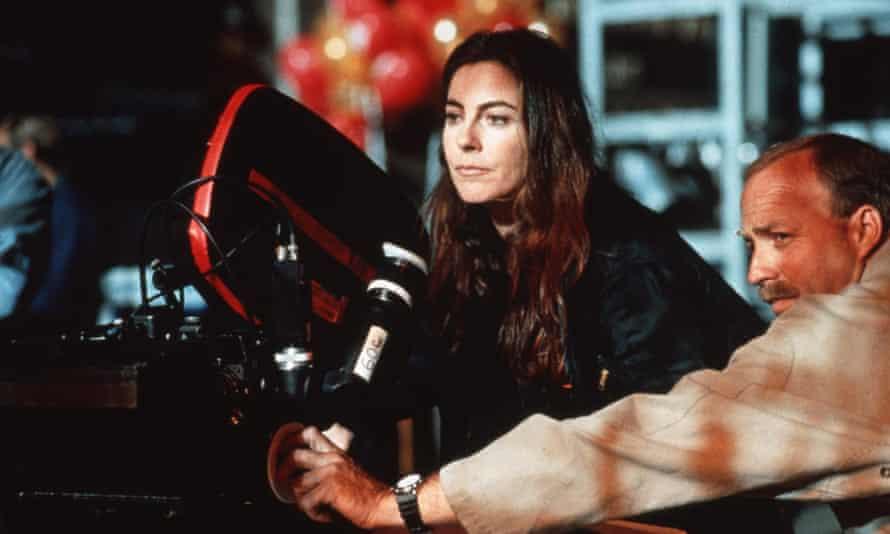 Director Kathryn Bigelow on the set of 1995 sci-fi thriller Strange Days.