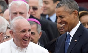 laughing pope and obama