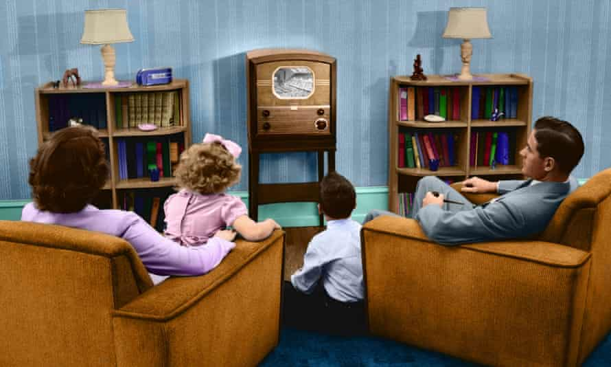 A family watching television in the 1950s