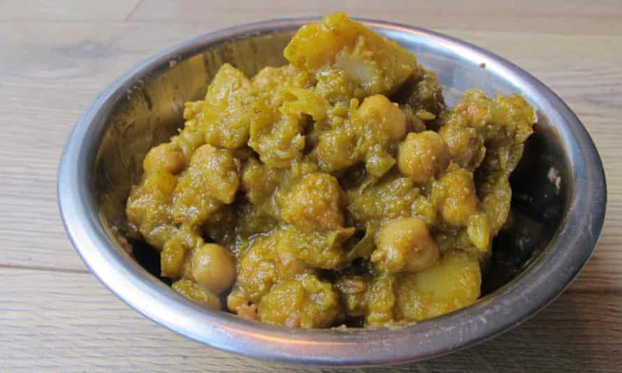Whizzed up with coriander … Madhur Jaffrey's chana masala.