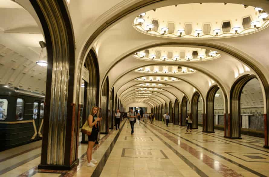 The Mayakovskaya underground station in Moscow.