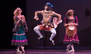 Trocks dancers Boris Nowitsky, Varvara Bractchikova and Eugenia Repelskii in Don Quixote