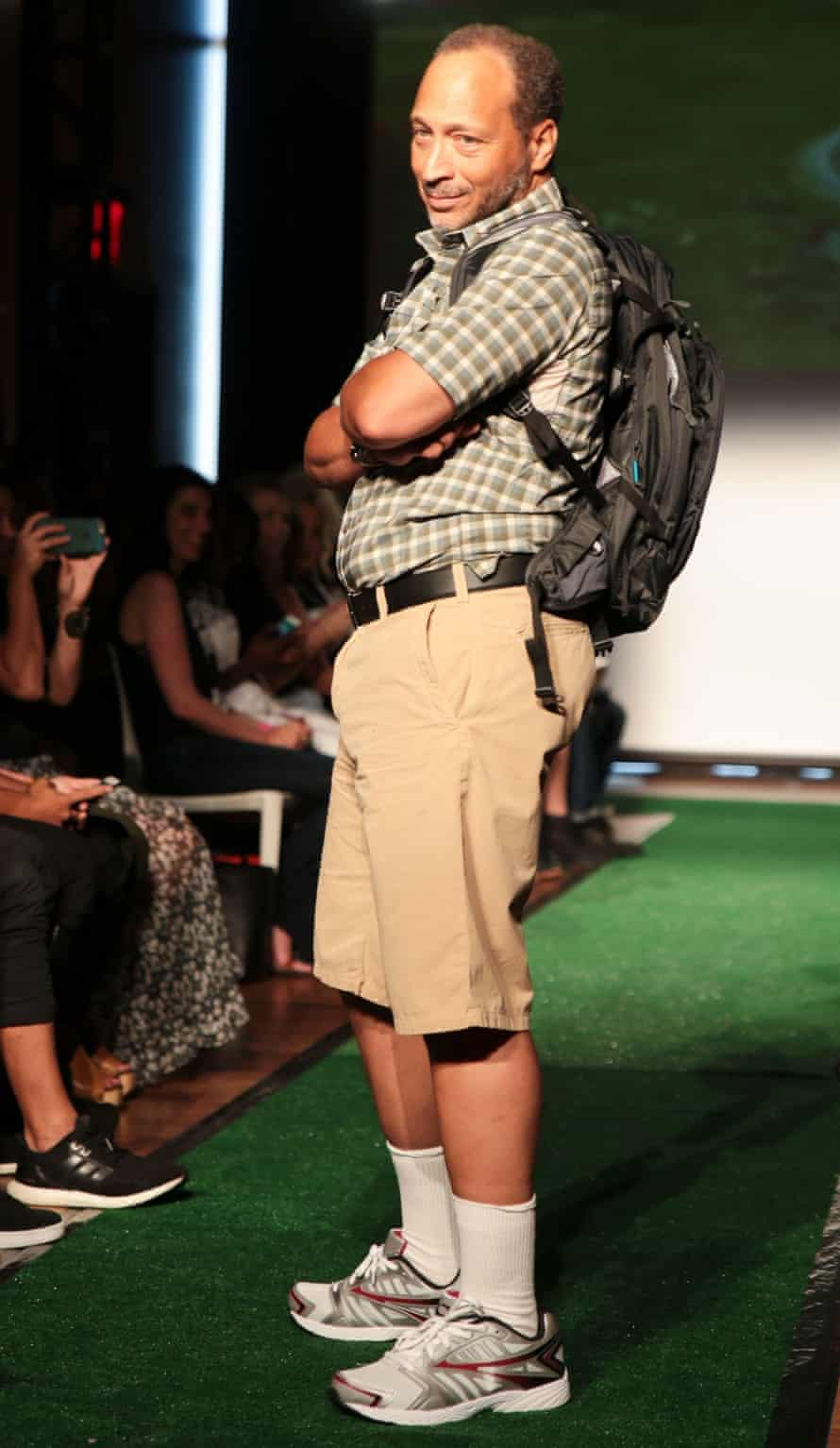 Family guy: the definition of normcore. A model on the catwalk during the Fat Jewish show in New York.
