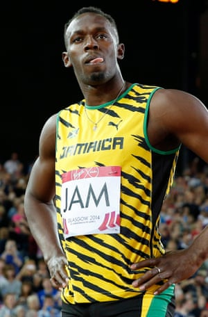 Usain Bolt watches during an athletics competition