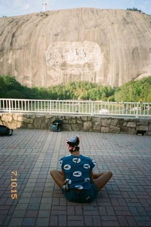 Kara Walker visiting the Stone Mountain monument in Atlanta, July 2015.
