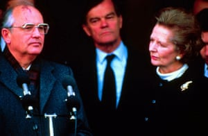 Soviet president Mikhail Gorbachev with Margaret Thatcher in 1989, with defence minister Alan Clark in the background.
