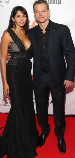 Matt Damon and his wife Luciana at an awards ceremony