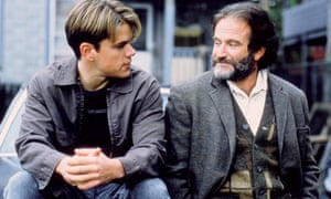 With Robin Williams, his co-star in Good Will Hunting.