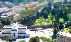 Panoramic (tilt-shift) view of the Vatican City and train station.