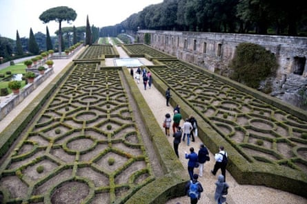 People visit the gardens of the pope's summer residence, Castel Gandolfo, south of Rome.