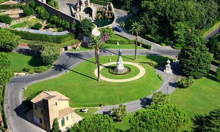 Aerial shot of the Vatican gardens from St Peter's Basilica, Rome.
