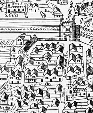 The Agas map showing Silver Street.