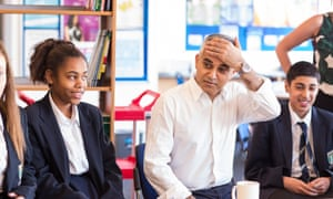 Sadiq Khan at Friern Barnet school
