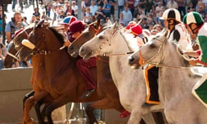 A scene from the documentary Palio, said to be the long-running horse race in the worse.