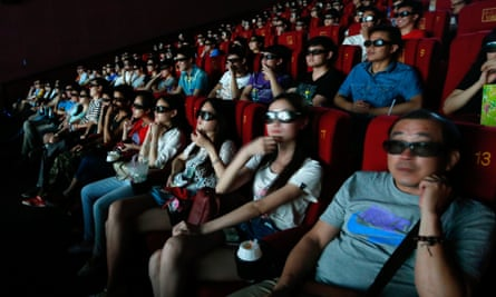 Chinese cinemagoers in Wuhan, Hebei province.