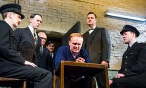 The swinging 60s (l-r): Ryan Pope, Reece Shearsmith, Simon Rouse, Ben Carmichael, Josef Davies, David Morrissey and Graeme Hawley in Hangmen. Photograph: Tristram Kenton