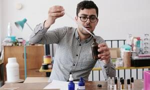 David Shariatmadari making perfume.