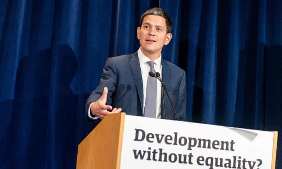 David Miliband speaking at Unicef/Guardian event