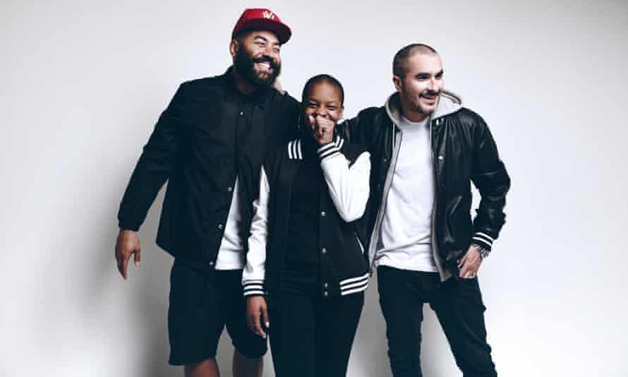 Beat 1's trio of established DJs, Ebro Darden (left), Julie Adenunga and Zane Lowe