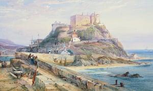 Mont Orgueil castle, Gorey, Jersey, 1876, watercolour and gouache, by RP Leitch.