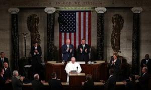 Joe Biden and John Boehner applaud Pope Francis